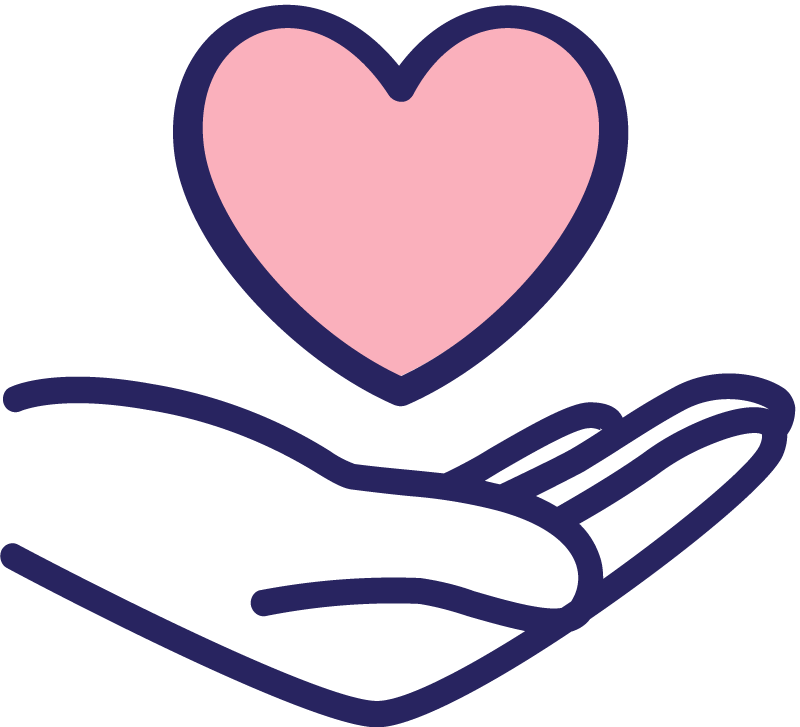 icon of a hand holding a heart