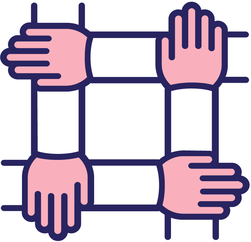 icon of four hands holding each other