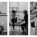 a set of three photos of children doing gymnastics