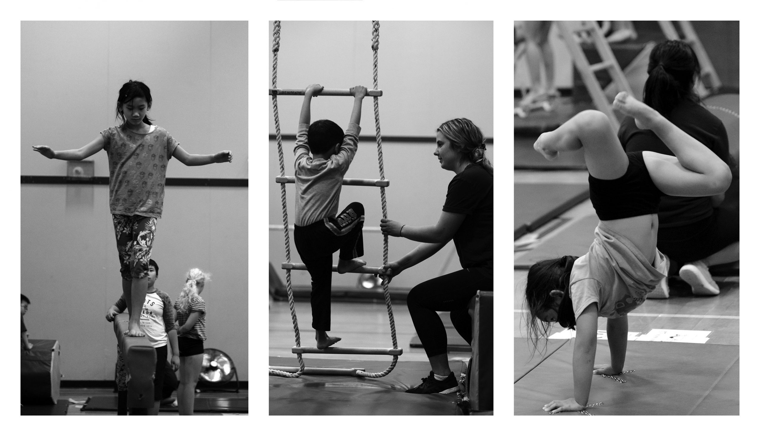 a set of three photos of children doing gymnastics