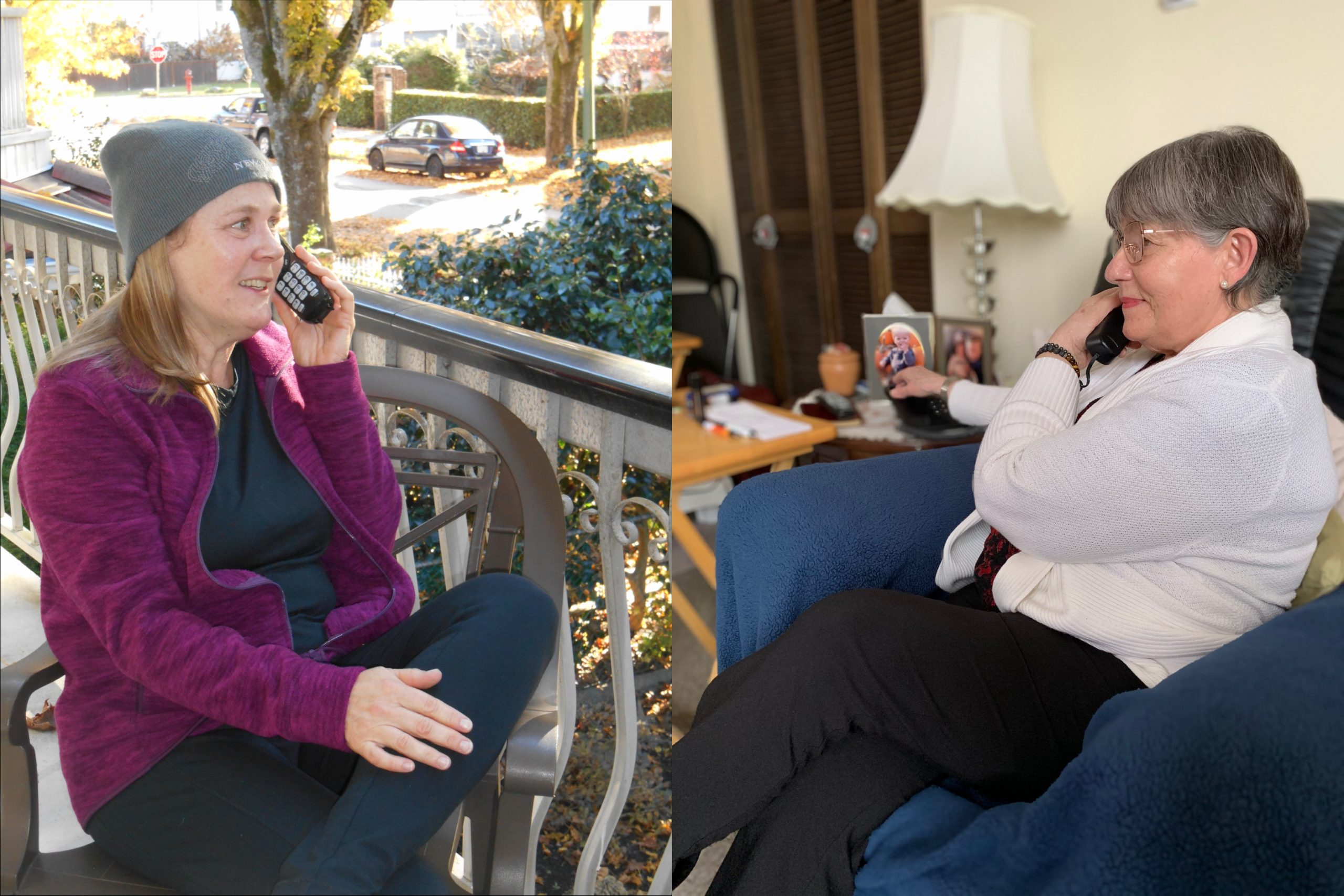 2 combined photos of a woman outdoors on a patio on a phone call and a senior indoors sitting on a couch on a phonecall