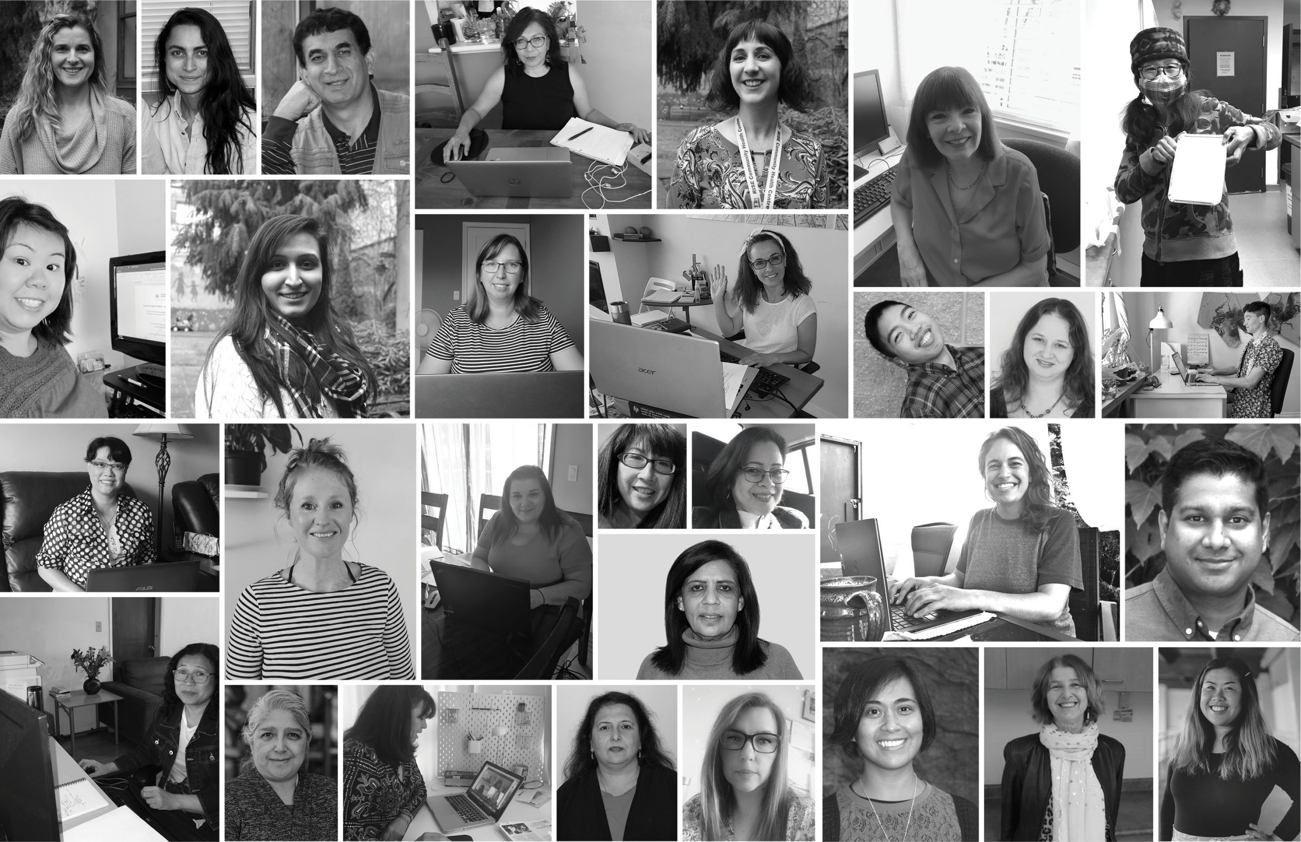 a black and white photo collage of CNH staff members. Some staff portraits are at the CNH building and some are posing in their home office.
