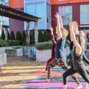 Outdoor yoga class on a sunny day. People are on yoga mats, lunging forward with one foot and with their arms raised to the sky.